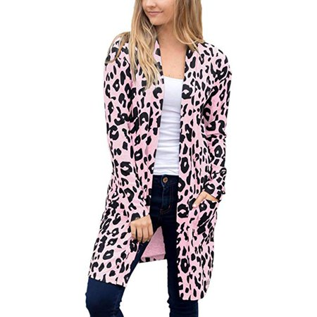 Cheetah Print Cardigan - Mosunx Women Long Sleeve Leopard Print Pocket Fashion Coat Blouse T-Shirt Cardigan Top