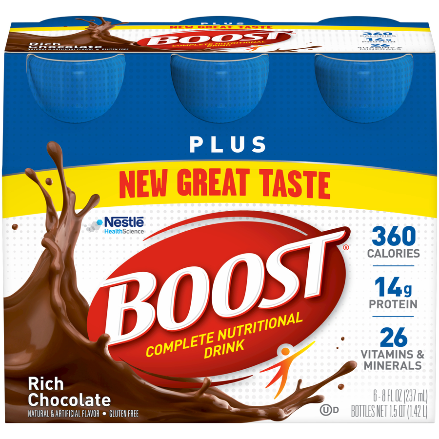 Boost Plus Complete Nutritional Drink, Rich Chocolate, 8 fl oz Bottle, 6 Count