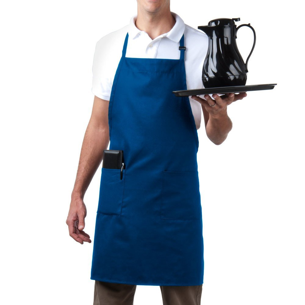 MHF Aprons-1 Piece Pack-Three pocket Adjustable Neck Bib Apron-Poly Spun for Home/commercial/Restaurant Kitchen(Wine)