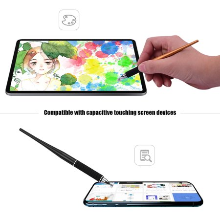 2-in-1 Capacitive Stylus Pen High with Fiber and Disc Metal TouchScreen Pen for Cell Phone Tablet Laptop Writing Drawing Pack of 2pcs Silver&Silver - image 3 de 7