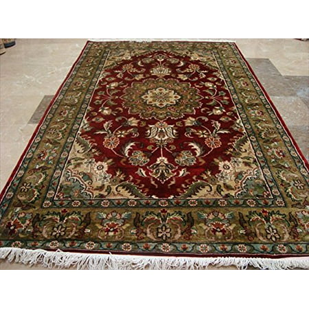 Floral Carpet Designs - Exclusive Floral Medallion Designed Rectangle Area Rug Wool Silk Hand Knotted Carpet 6' X 4'