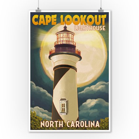 Cape Lookout Lighthouse & Full Moon - Outer Banks, North Carolina - Lantern Press Poster (9x12 Art Print, Wall Decor Travel (Cape Lookout Lighthouse)