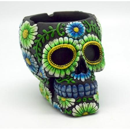 Black Green Floral Day of the Dead Sugar Skull Big Ashtray Dia de Los Muertos