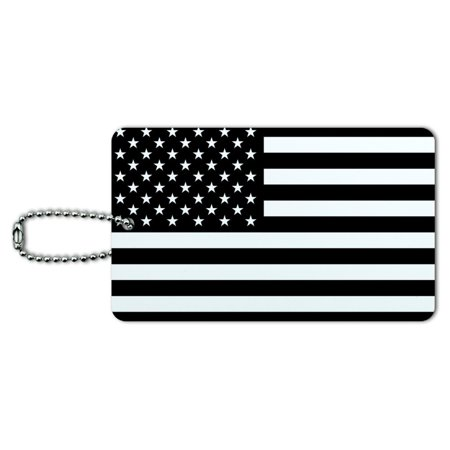 Military Id Tag (Graphics and More Subdued American USA Flag Black White Military Tactical Luggage Card Suitcase Carry-On ID Tag )