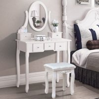 Zimtown Vanity Set Oval Mirror Jewelry Makeup Dressing Table Wood 5 Drawer & Stool White