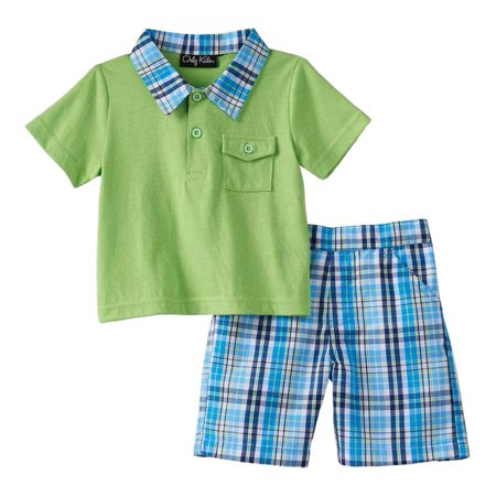 5e5a1db5b7f5 Only Kids - Only Kids Infant Boys 2 Piece Green Polo T-Shirt   Blue ...