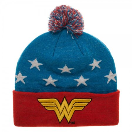 Dc Womens Beanie (DC Comics Wonder Woman Embroidered Winter Pom Beanie )