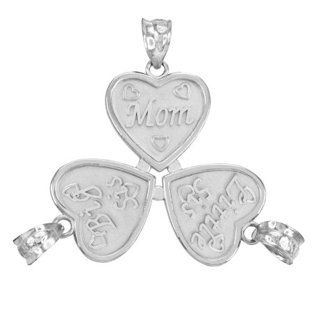3Pc Sterling Silver Mom Big Sis Little Sis Heart Pendant Set