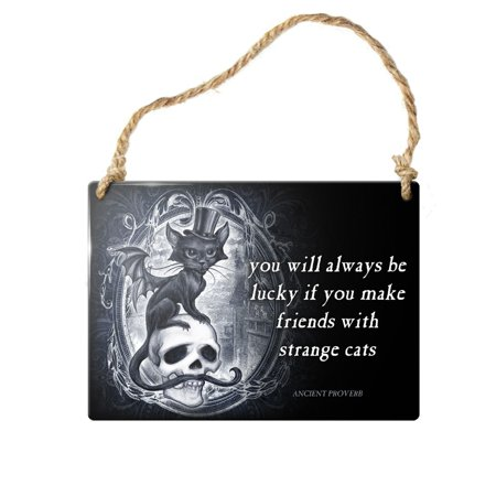 Alchemy Gothic Strange Cats Hanging Sign Lucky Wisdom Proverb Steel Plate Metal (Lucky Signs)