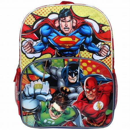 Justice Backpacks For Kids (DC Comic Justice League Superman, Batman, Flash & Green Lantern 16 inch)