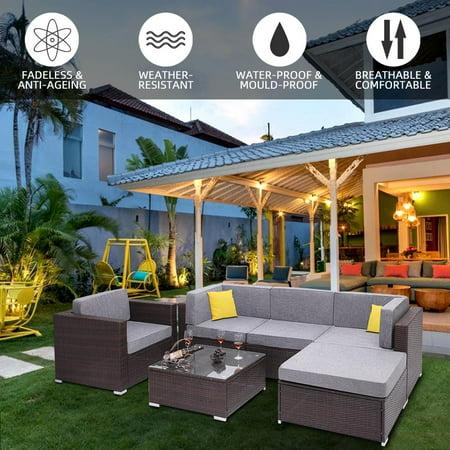 UBesGoo 6 Pieces Outdoor Furniture Sofa Set Garden Patio PE Wicker Rattan Chairs Corner Set with Cushions ()