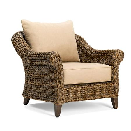 Peachy Blue Oak Bahamas Wicker Outdoor Lounge Chair With Sunbrella Canvas Heather Beige Cushion Bralicious Painted Fabric Chair Ideas Braliciousco
