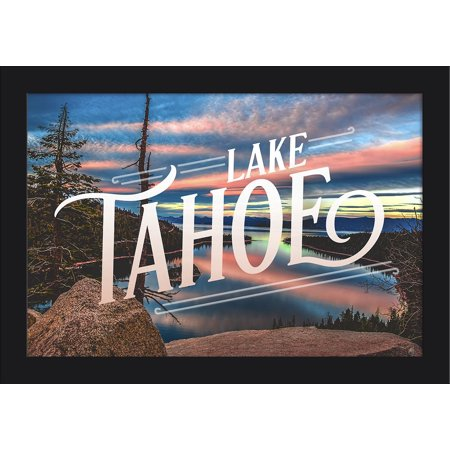 Lake Tahoe - Lake & Mirrored Sky - Lantern Press Photography (18x12 Giclee Art Print, Gallery Framed, Black Wood) ()