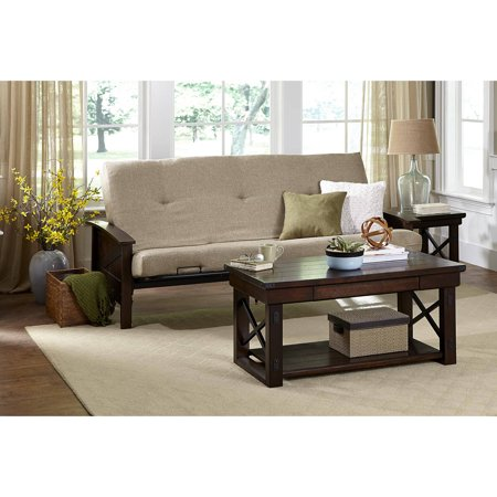 Better Homes And Gardens Paneled Wood Arm Futon With 6 Mattress