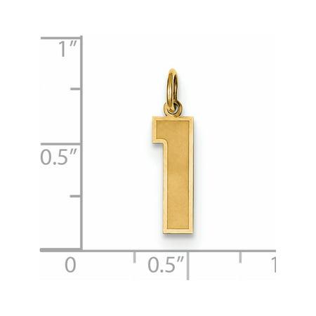 14k or jaune moyen satin num?ro 1 (5x20 mm) Pendentif / Breloque - image 1 de 2