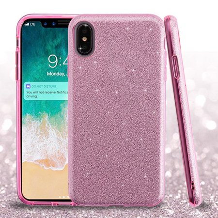 finest selection 68771 00177 Apple iPhone Xs Max (6.5 Inch) Phone Case Slim HYBRID Bling Glitter Candy  Silicone Rubber Gel Hard Protective Case Cover - Pink Glittering Phone Case  ...