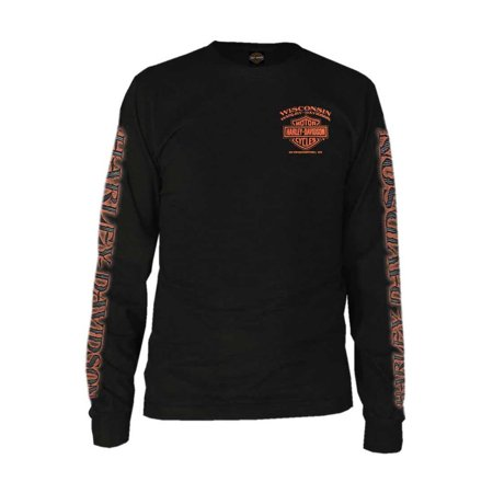 Harley Davidson Rentals (Harley-Davidson Men's Eagle Piston Long Sleeve Crew Shirt, Black 30299947, Harley Davidson )