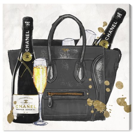 Runway Avenue Fashion and Glam Wall Art Canvas Prints 'I Brought The Champagne' Handbags - Black, Gold