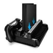 Vertical Stand with Cooling Fan and Controller Charger For PS4 w/ DualShock 4 Charging Docking Station Hub, 12 Game Disc Storage Organizer, 3 Built-in Cooler Fan For PlayStation 4 / PS4 Slim / PS4 Pro