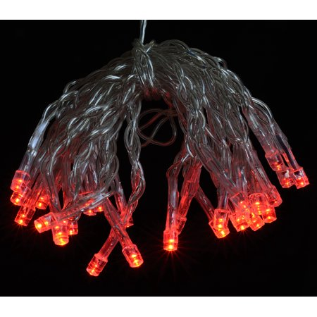 Fantado 30 LED Red Mini String Lights, 10.8 FT Clear Cord, Battery Operated by PaperLanternStore ...
