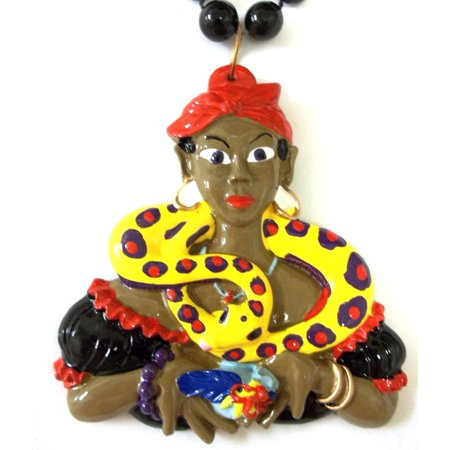 Voodoo Snake Charmer Lady Woman Pendant Mardi Gras Necklace Black Beads Bead (Woman Snake Charmer)