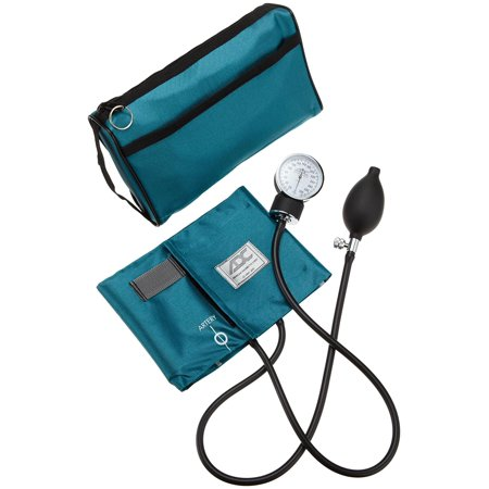 ADC Prosphyg 768 Pocket Aneroid Sphygmomanometer with Adcuff Nylon Blood Pressure Cuff, Adult, and Carrying Case, Teal, Adcuff calibrated nylon cuff with adc