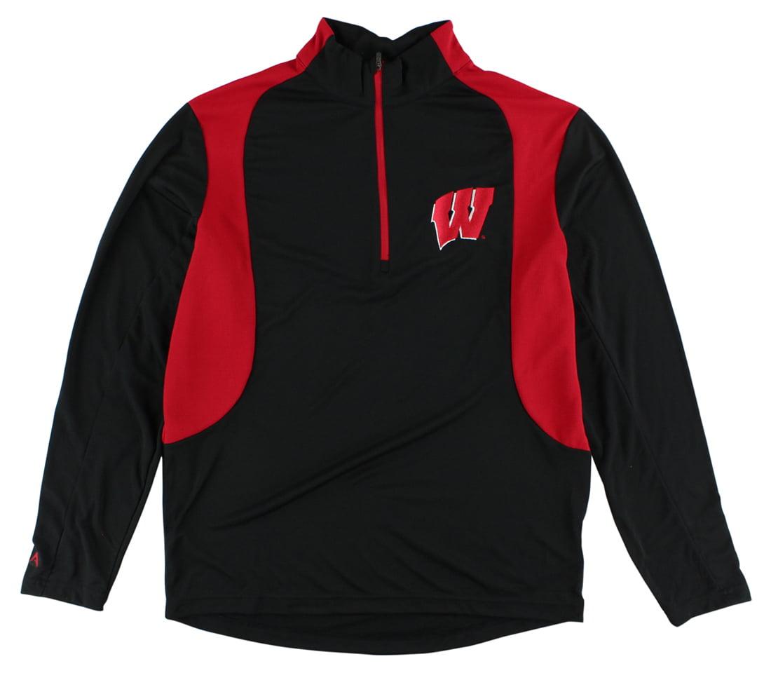 Antigua Mens Wisconsin Badgers Delta Quarter Zip Pullover Jacket Black by Antigua