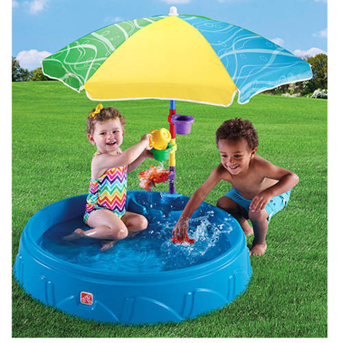 Step2 Play & Shade Kiddie Swimming Pool, Durable Poly-Plastic, Includes Umbrella and Toys