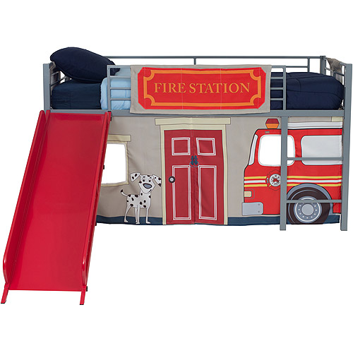 Boys Apos Fire Department Twin Metal Loft Bed With Slide Red