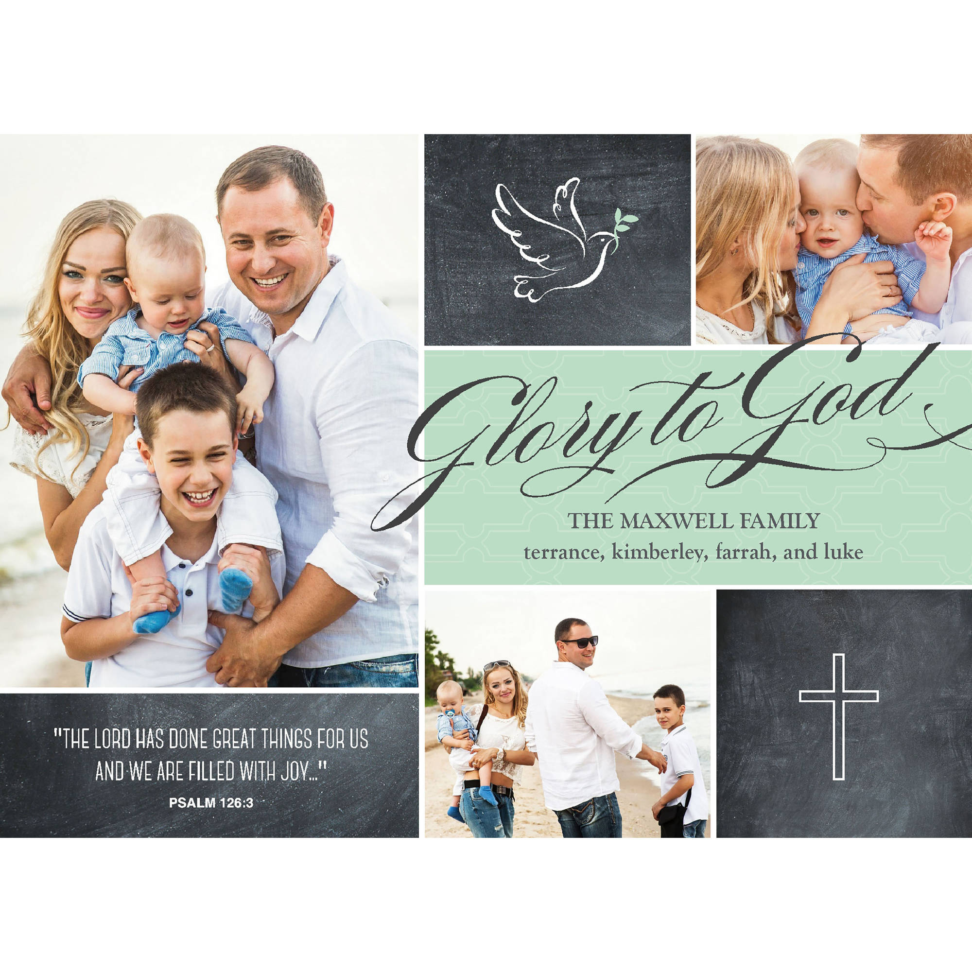 Glory to God - 5x7 Personalized Religious Holiday Card