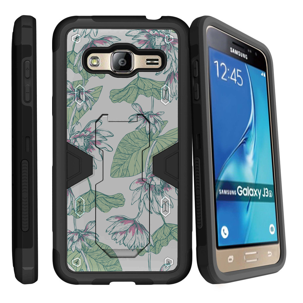 Samsung Galaxy J3, Galaxy Sky Dual Layer Shock Resistant MAX DEFENSE Heavy Duty Case with Built In Kickstand - Fresh Garden