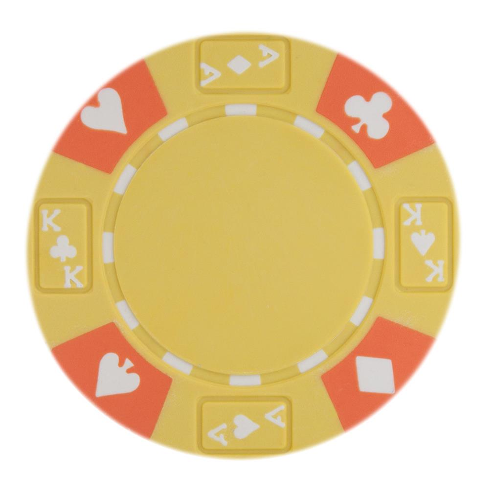 """Roll of 25 Yellow Ace King Suited 14 Gram Poker Chips"" by BryBelly"
