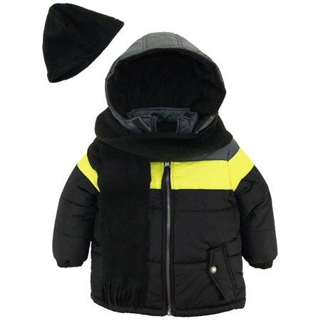 7c72a12668de9 IXtreme - iXtreme Little Boys  Colorblock Puffer Winter Jacket Scarf and  Hat Coat Set - Walmart.com