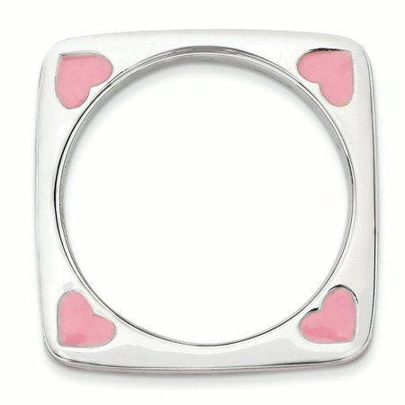 Sterling Silver Stackable Expressions Polished Pink Enameled Square Ring Size 5 - image 1 of 3