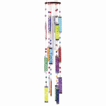 Glass Wind Chimes 20 inches Rainbow Multi Color Bars with Beads