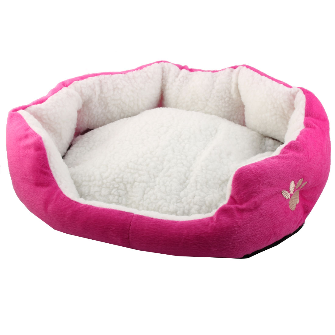 Pet Plush Oval Shape Removable Cushion Nesting Dog Bed Cave Fuchsia 50cm x 40cm