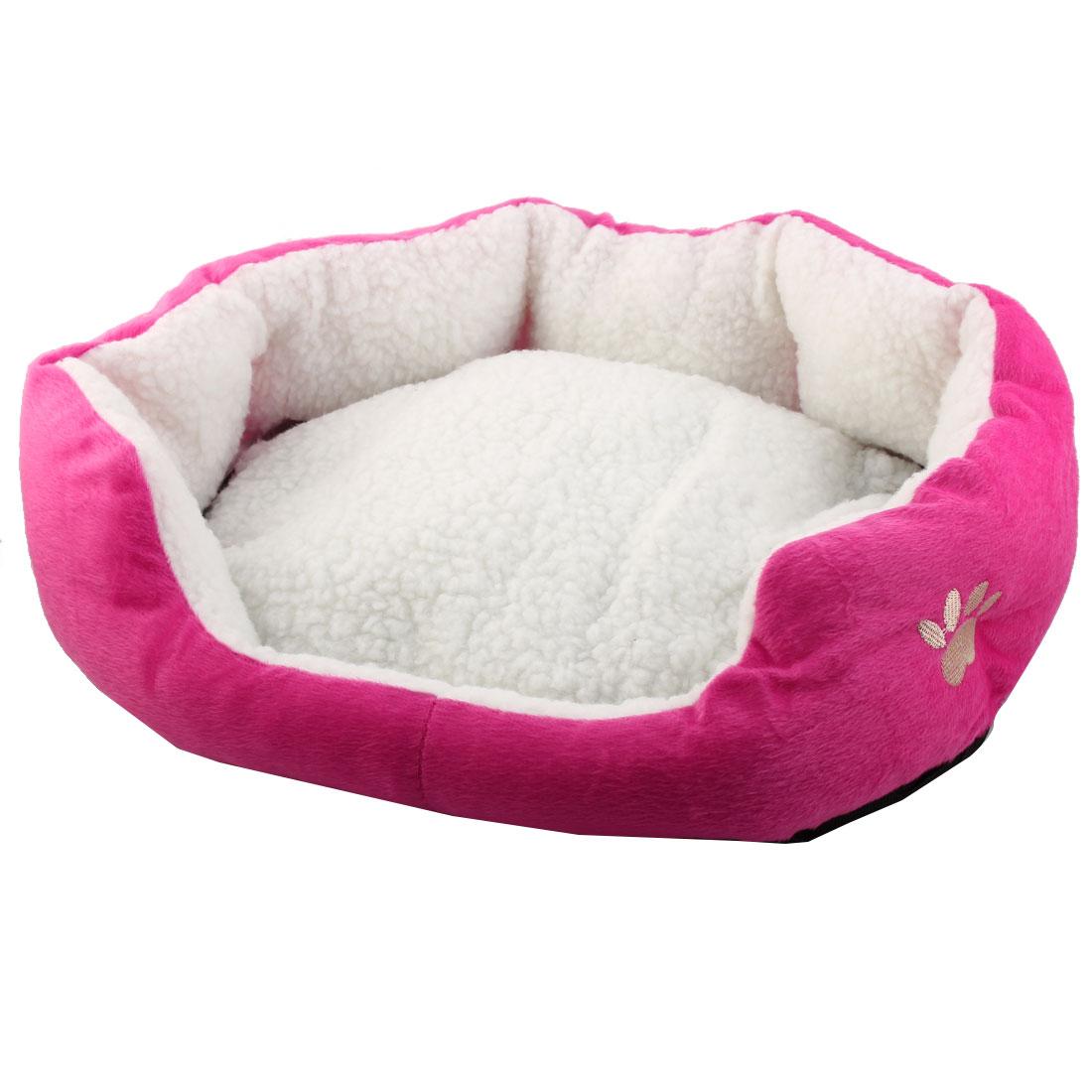 Pet Plush Oval Shape Removable Cushion Nesting Dog Bed Cave Fuchsia 50cm x 40cm