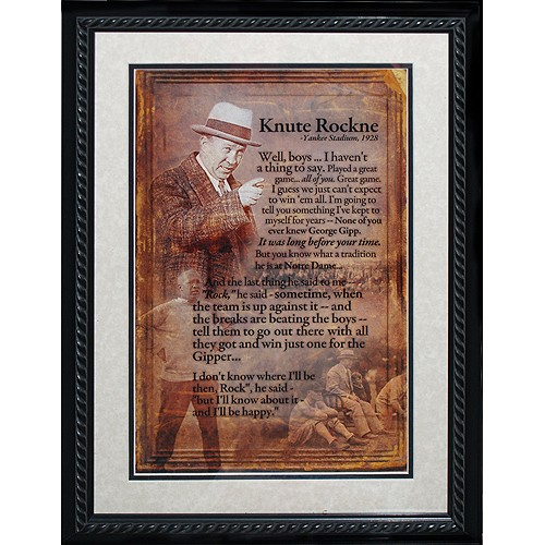 Steiner Knute Rockne Framed Speech Collage Photo