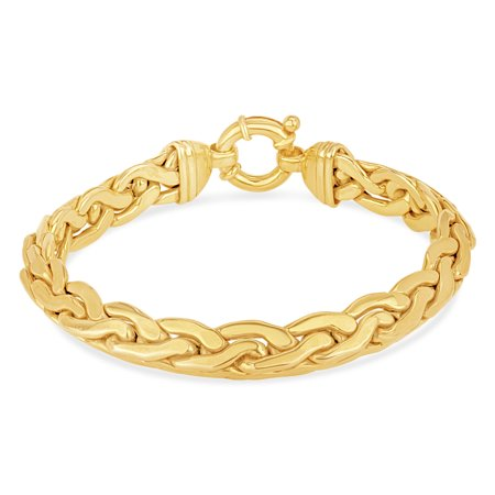 18k Over Sterling Silver Bracelet - 18k Gold over Sterling Silver 9mm Braid Link Large Clasp Bracelet 8 Inches
