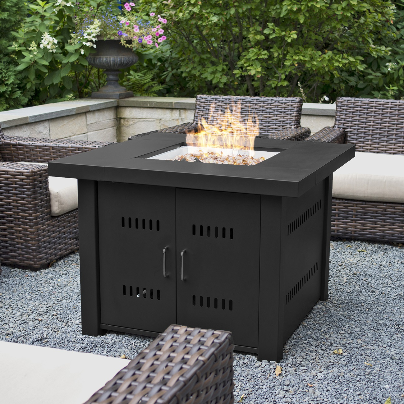 Belleze 40,000BTU Outdoor Patio Propane Gas Fire Pit Table W/ Fire Glass LG  Gas, Black   Walmart.com
