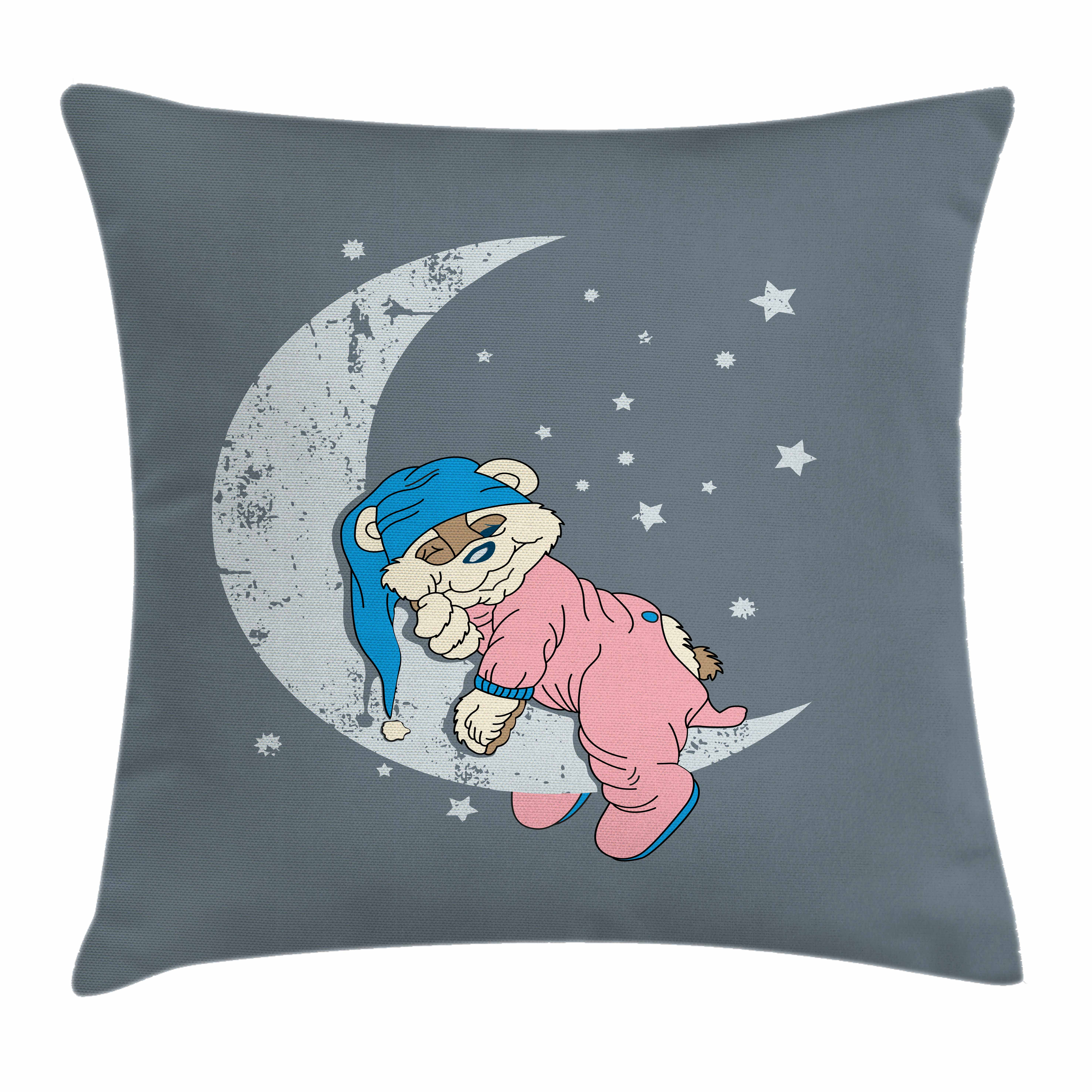 Bear Throw Pillow Cushion Cover, Cute Kids Design with a Baby Bear in Pajamas Sleeping on the Grungy Moon, Decorative Square Accent Pillow Case, 16 X 16 Inches, Bluegrey Pink Beige, by Ambesonne