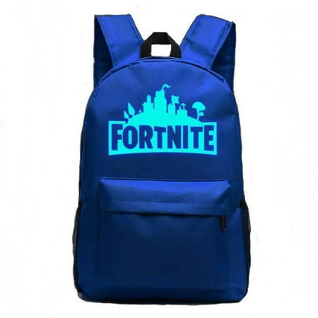 Fortnite School Backpack Childrens Fort Nite Travel Bag Blue Luminous Illuminating Fortnite