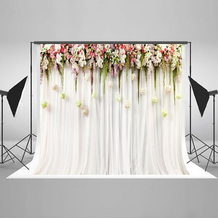 GreenDecor Polyester Fabric 7x5ft Printed Colorful Flowers White Pink Lace Curtain Wedding Ceremony Photography Backdrop Photo Booth Background - 80s Photo Backdrop
