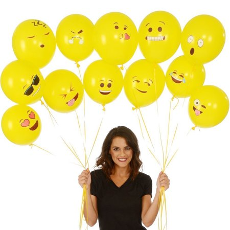 Cute Printed Big Eyes Face Smiley Face Latex Balloons for Party Birthday or Holiday Decoration Style 1 Pack of 10 Multi-color - image 5 of 7