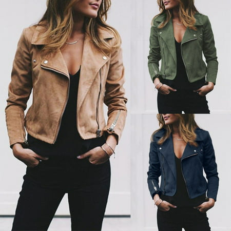 Women Ladies Leather Jacket Coats Zip Up Biker Casual Flight Top Coat Outwear #305
