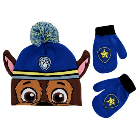 Nickelodeon Paw Patrol Hat and Mittens Cold Weather Set, Toddler Boys, Age 2-4 (Mens Patrol Glove)