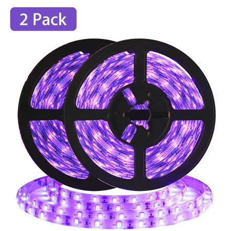 32.8ft/10M LED UV Black Light Strip Kit, DC12V Flexible Blacklight Fixtures with 600 Units UV Lamp Beads, Waterproof Lights for Indoor Outdoor Fluorescent Dance Party, Stage Lighting, KTV