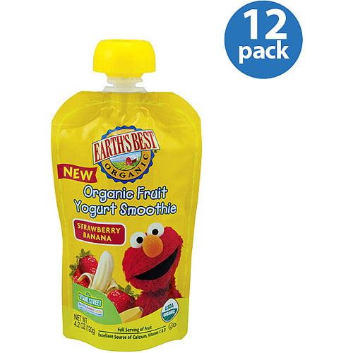Earth's Best Organic Sesame Street Strawberry Banana Fruit Yogurt Smoothie, 4.2 oz (Pack of 12)