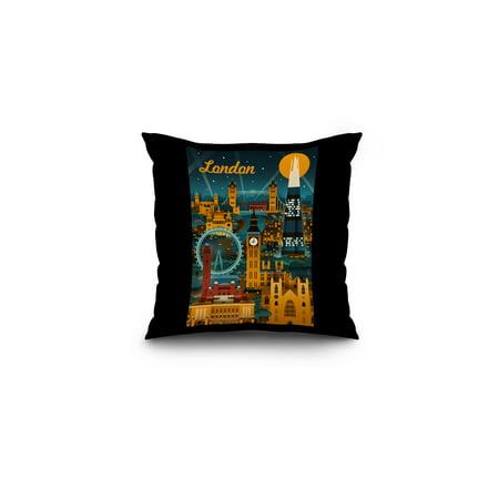 London, England - Retro Skyline - Lantern Press Artwork (16x16 Spun Polyester Pillow, Black (Retro London)