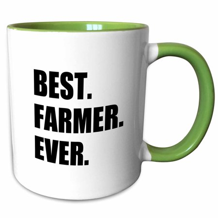 3dRose Best Farmer Ever - fun gift for farming job - farm - black text - Two Tone Green Mug, (Best Gifts For Farmers)